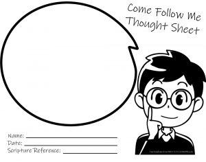 Come Follow Me Thought Sheet BW Boy Come Follow Me Thought Sheet - Boy