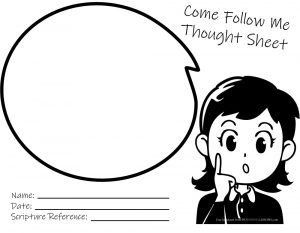 Come Follow Me Thought Sheet BW Girl Come Follow Me Thought Sheet - Girl
