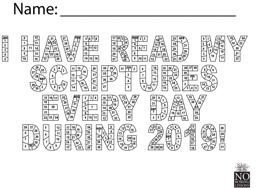 scripture reading chart 201 I have read my scriptures every day Scripture Reading Chart 2019